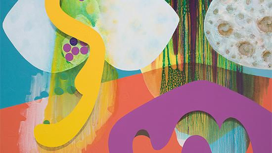 Abstract shapes in a painting with vibrant colors of yellow, white, purple, blue, green, orange, brown.