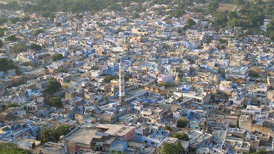 An aerial view of a city in India.