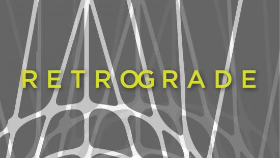 Gray background with faded white and gray lines connected with the word Retrograde written in lime green.