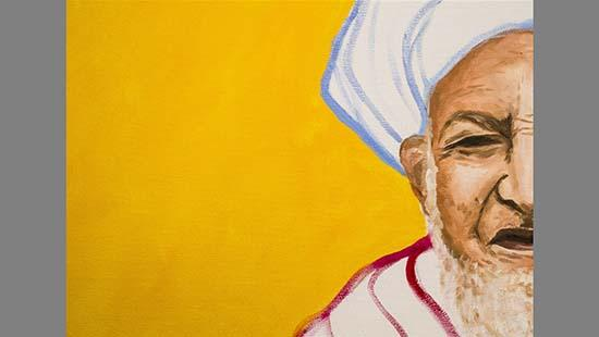 Painting of half of a man with a white beard wearing a red and white robe with a white and blue turban against a yellow background.