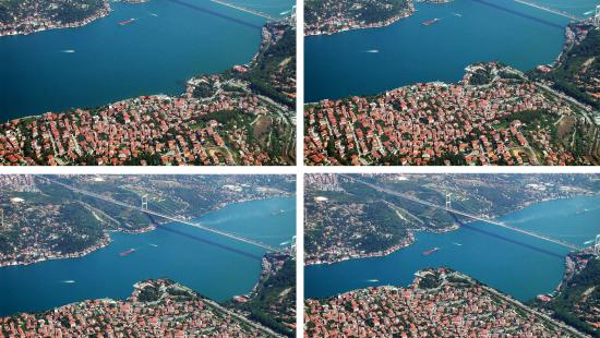 Four photos of birds-eye view of developed water inlet