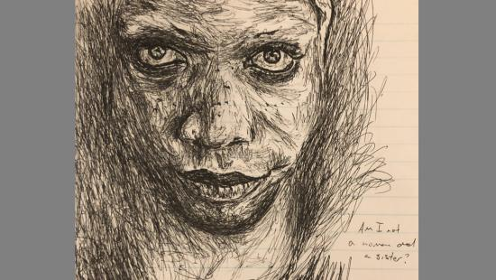 Sketch of a woman looking at the viewer on tan lined paper.