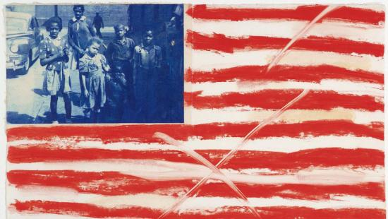 image of American flag with African-American children in blue