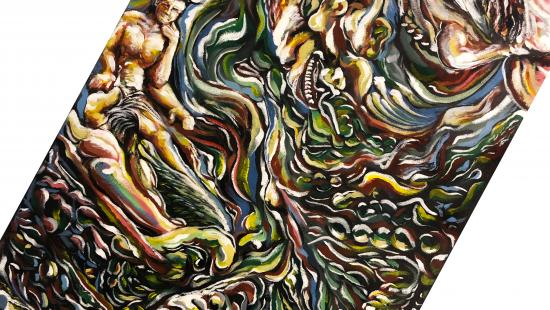 Abstract painting of different swirls of green yellow, red, blue, white with human figures mixed in.