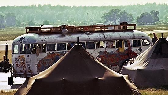 Hog Farm commune buses at their Tent City, Skarpnäck, Stockholm, June 1972
