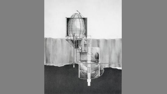 black and white architectural drawing of a cut view of a structure above and mirrored below ground