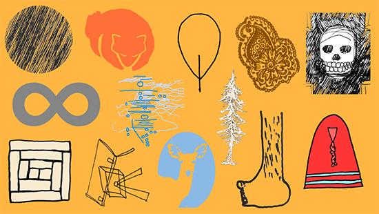 Orange background with different objects arranged in front, skull, foot, deer, infinity symbol, hat, fox, tree, among others.