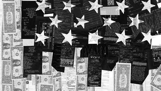 Black and white print of different currencies with white stars overlapping currency prints.