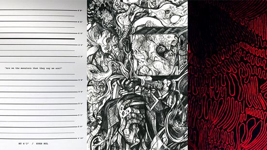 Three images from left to right: lines of various thickness parallel to one another, a black and white drawing of abstract designs, a red and black image with different size waves.