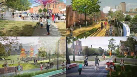 Four color renderings of city parks and public spaces