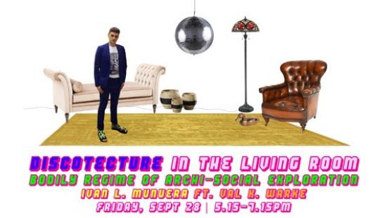 photo collage of living room furniture and a man and a disco ball