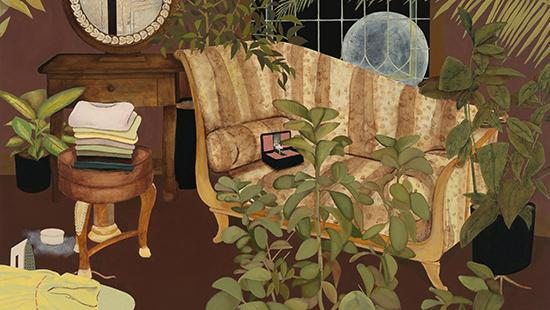 Oil painting of a sitting room with plants, a couch, and a stool with laundry on it