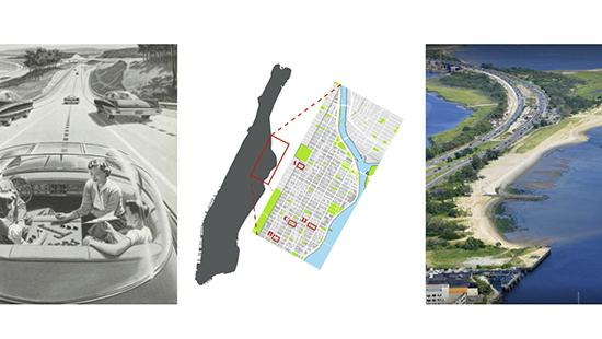 three images of people in a car from the 50s, a map of Manhattan island, and a seashore with highways