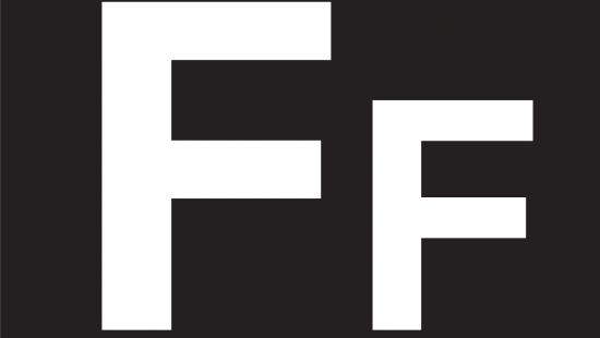 White upper and lowercase letter F on a black background