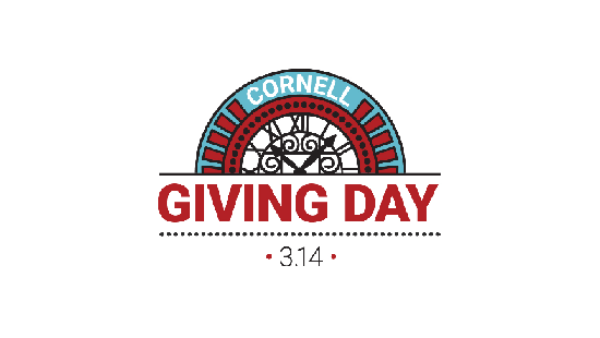 red and blue logo that says Cornell Giving Day 3.14