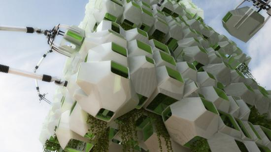 digital rendering of pods of green and white stacked boxes and cranes adjusting their location