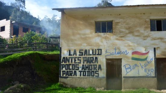 Pro-Evo Morales government graffiti in a small rural town in Bolivia