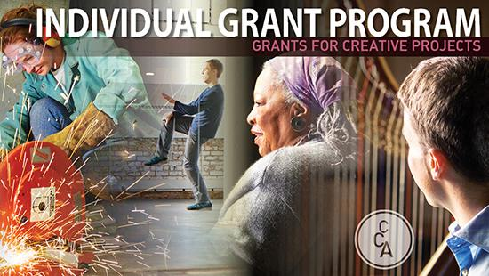 Individual grant program graphic of student welding, person dancing and two other people
