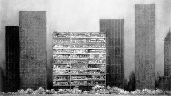 A two-dimensional charcoal drawing depicting a series of high rise buildings.