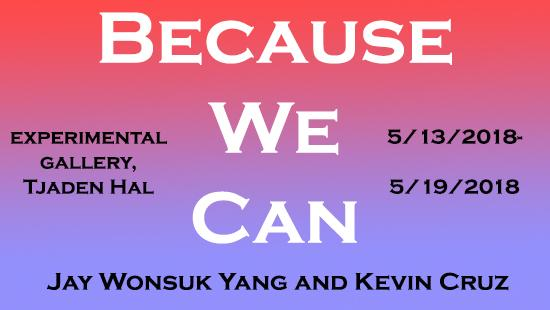 White text reading 'Because We Can' with black text written across a blended pink and purple background.