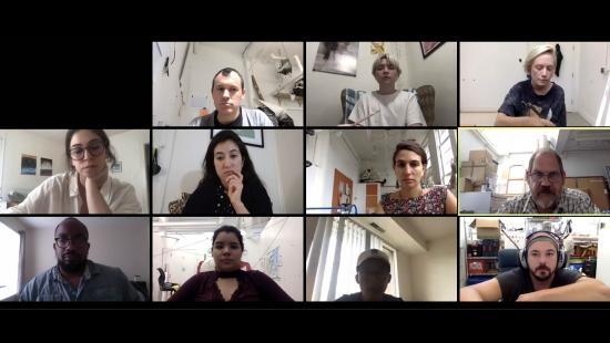 Screenshot of 10 M.F.A. students and one faculty member.