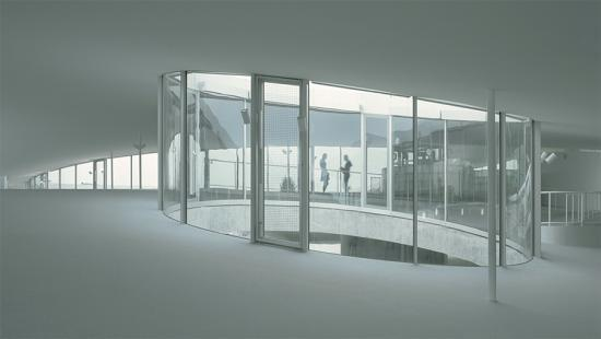 White room with glass enclosure at center.