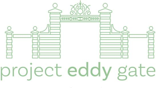 green sketch of a pillared gate with the words project eddy gate below