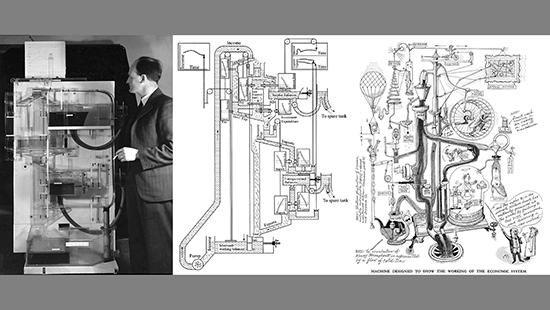 Historical photograph and illustrations showing a machine designed to show the workings of the economic system