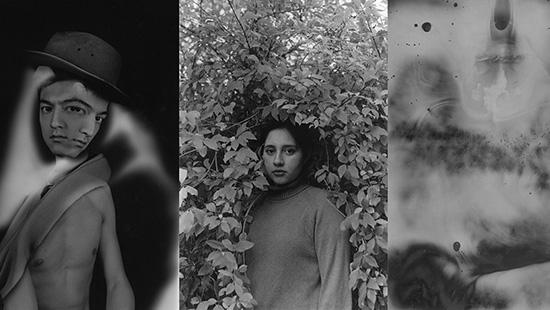 Black and white photographs of a two-faced man, a woman in foliage, and an abstract image.