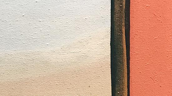 Painting of a white and cream square with a brown stripe separating it from a salmon colored rectangle.