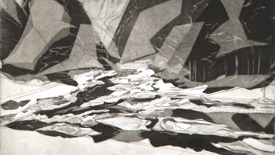 Black and white print of an abstract landscape.