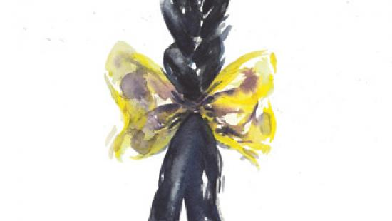Painting of a yellow bow around a black braid.