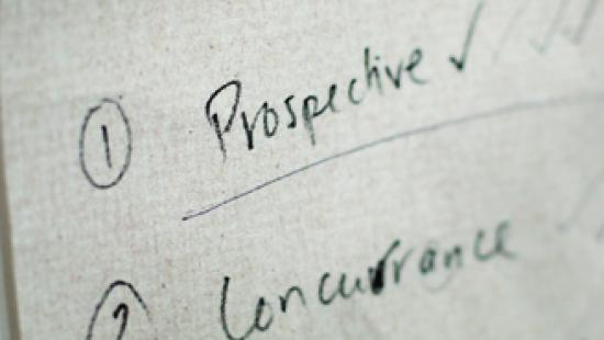 Prospective handwritten on a piece of paper