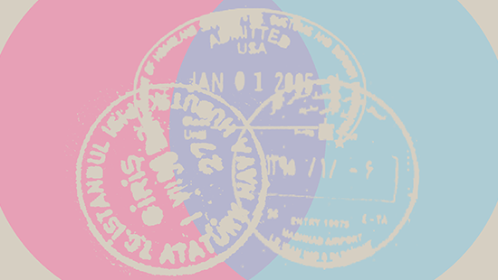 Three white passport stamps connected to form a pyramid against a light red and a light blue overlapping circles.