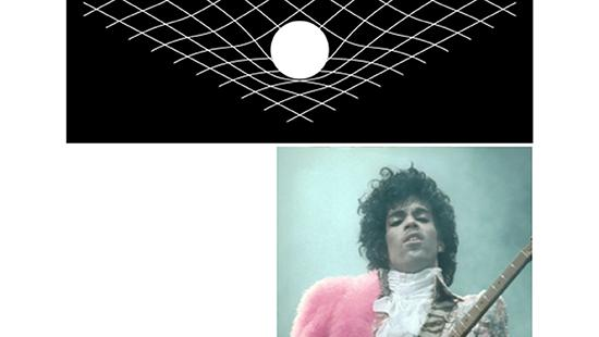 Picture of 3D grid with musician Prince below.