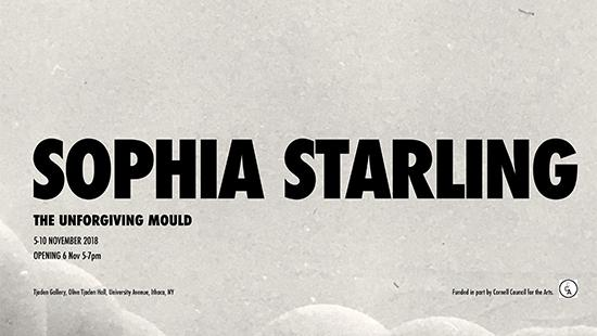 Grey poster featuring Sophia Starling exhibition information in bold black letters with part of a grey cloud at the bottom.