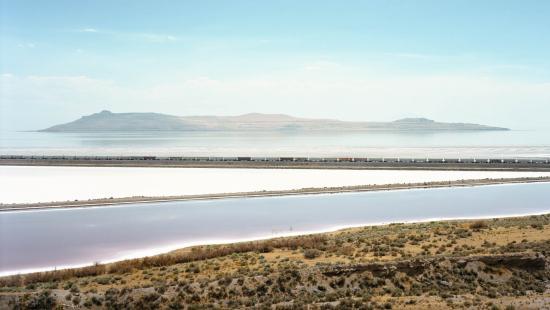 Untitled (train crossing Great Salt Lake, Utah) by Victoria Sambunaris