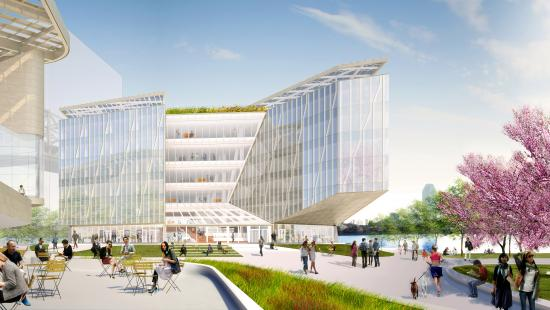 Rendering of The Bridge, a building on Roosevelt Island's Tech campus