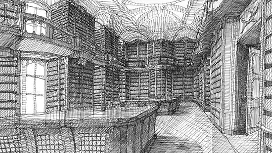 Black and white drawing of inside of library stacks