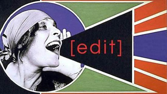 poster of a woman shouting through a graphic bullhorn that says edit