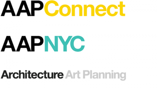 AAP Connect and AAP NYC logo in black yellow and turquoise and an emphasis on architecture