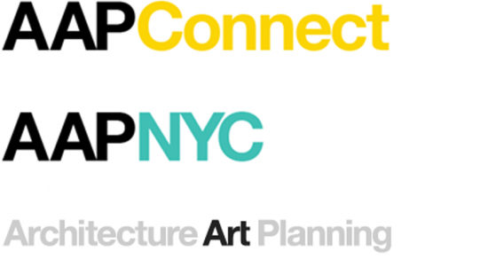 AAP Connect and AAP NYC logo in black yellow and turquoise emphasis on art
