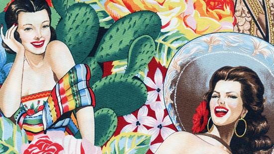 Painting of two women wearing brightly colorful clothes set against a brightly colored desert collage background.