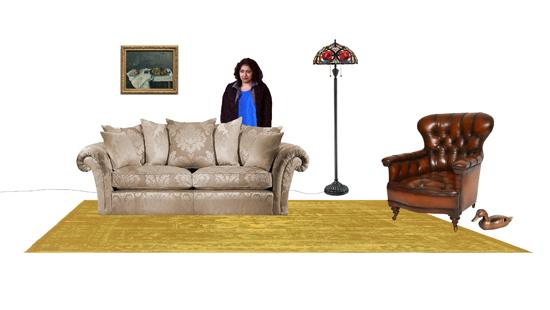 a photo collage of living room furniture with a woman standing behind a couch