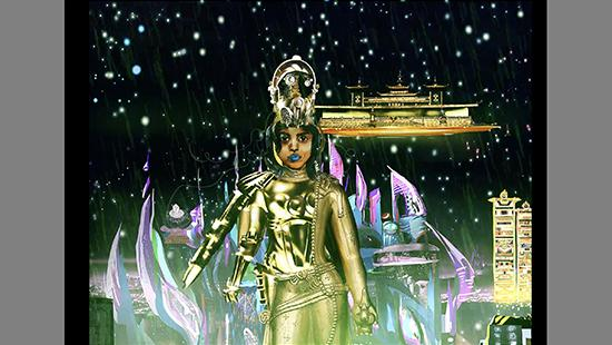 Cartoon of a woman in a gold suit of body armor with a gold crown in front of a starry dark sky and city of gold, blue, and purple.