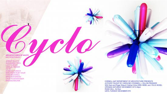 Flowers made of recycled tampon cases and Cyclo spelled out in script type