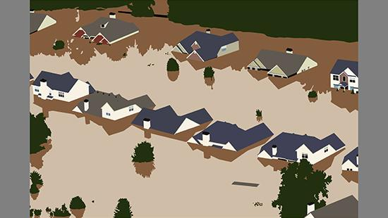 Two rows of houses flooded with tan water with green tree tops visible with brown shadows in the water.