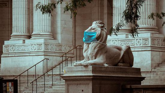Statue of a lion wearing a blue face mask, stone columns, stairs.