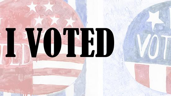 Faded background with red, white, blue 'voted' stickers with black text 'I Voted' written on it.