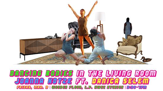 Dancers superimposed in living room setting